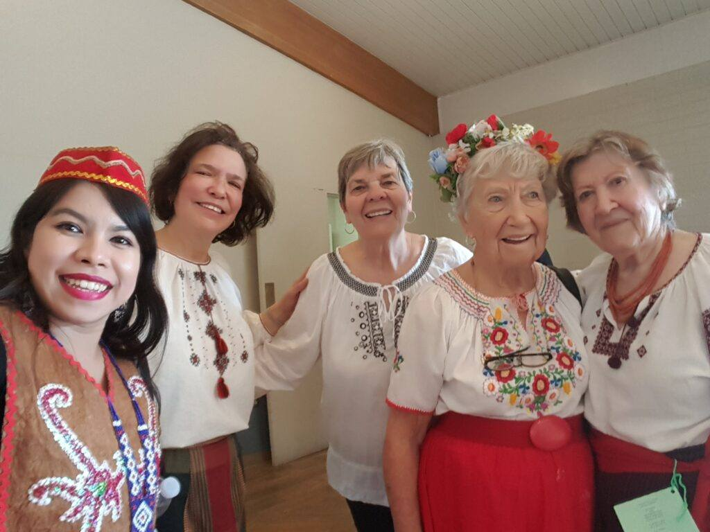 Ferra Spencer with Friends at Folk-dancing Festival